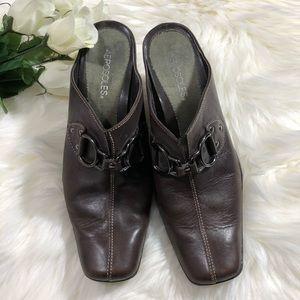 Aerosoles brown leather heeled mules. 10M